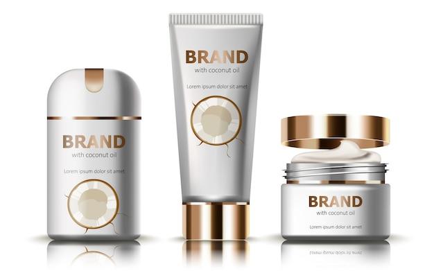 Set deodorant en crèmes met kokosolie. realistisch. . plaats voor tekst