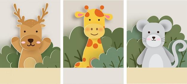 Set dieren kaart, herten, giraf en rat in het bos. papier gesneden stijl.