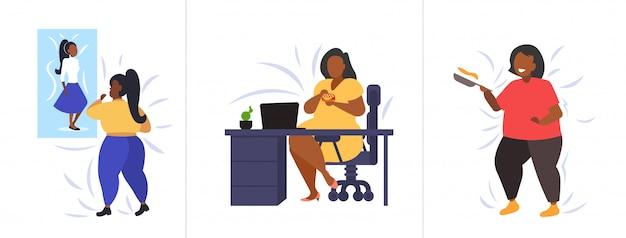 Set dikke zwaarlijvige mensen in verschillende poses overgewicht afro-amerikaanse vrouwelijke personages collectie zwaarlijvigheid ongezonde levensstijl concept