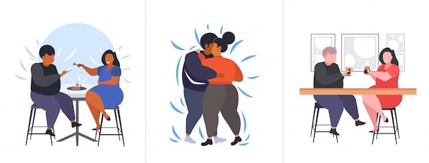 Set dikke zwaarlijvige mensen in verschillende poses overgewicht mix race mannelijke vrouwelijke personages collectie obesitas ongezonde levensstijl concept