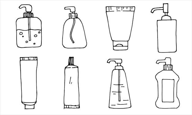 Set dispensers blikken buizen met sanitaire producten ontsmettingsmiddelen