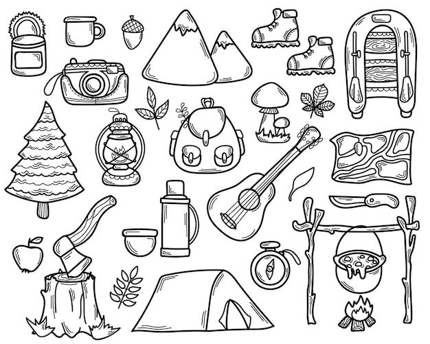 Set doodle camping tools. hand getrokken toerisme elementen.