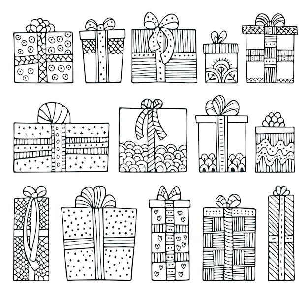 Set doodle geschenkdozen geïsoleerd