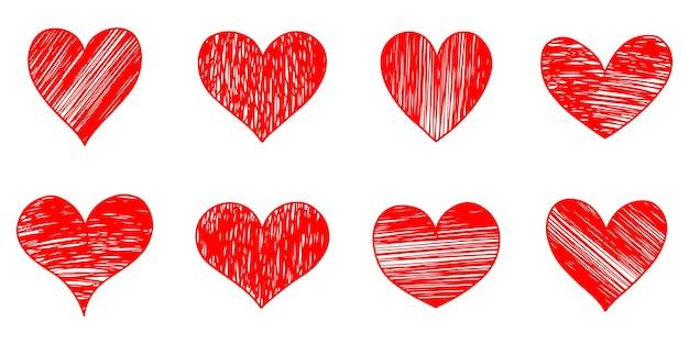 Set doodle harten geïsoleerd op een witte achtergrond. hand getekend van pictogram liefde. vectorillustratie.