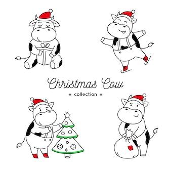 Set doodle kerstkoeien in verschillende poses geïsoleerd