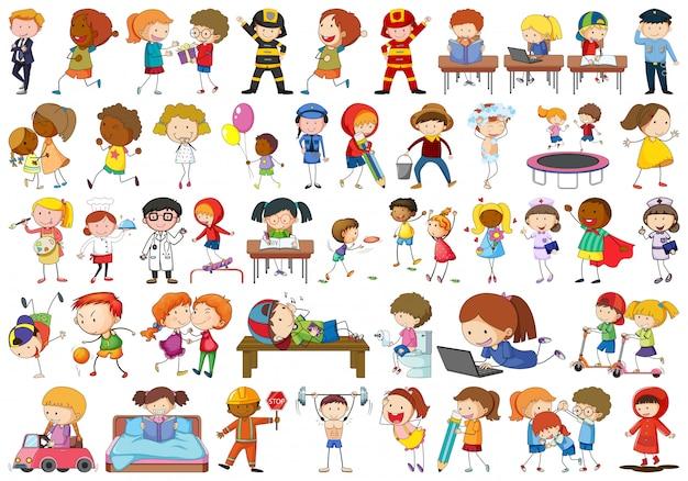 Set doodle kinderen karakter