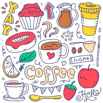 Set doodle koffie object element hand getrokken stijl