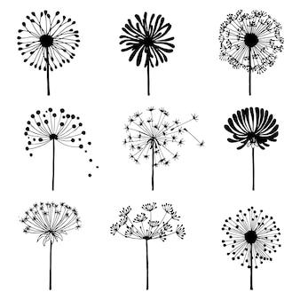 Set doodle paardebloemen