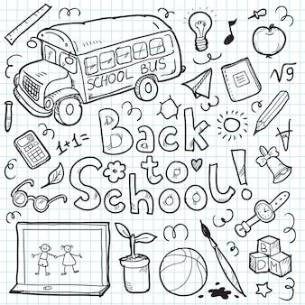 Set doodle terug naar school elementen. illustratie