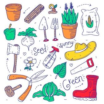 Set doodle tuinieren object element hand getrokken stijl