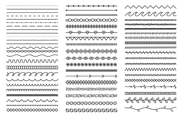 Set doodle verdelers geïsoleerd op wit