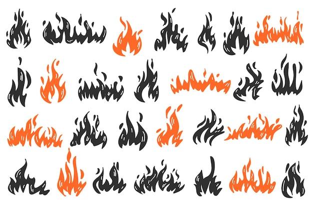 Set doodle vlam. collectie van hete vlammende element. ãƒâ¢ã'â€ã'â‹illustratie van natuurfenomeen.