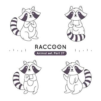 Set doodle wasberen in verschillende poses geïsoleerd