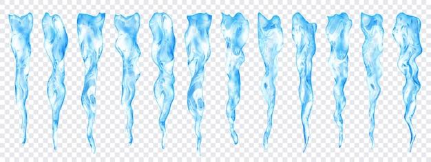 Set doorschijnende lichtblauwe realistische ijspegels van verschillende lengtes op transparante achtergrond. transparantie alleen in vectorformaat