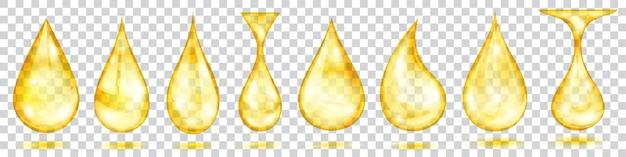 Set doorschijnende waterdruppels in gele kleuren in verschillende vormen, geïsoleerd op transparante achtergrond. transparantie alleen in vectorformaat