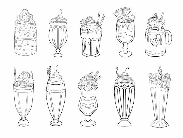 Set drinkcontainers van glas en pot voor smoothies, yoghurt en sap in lijnstijl