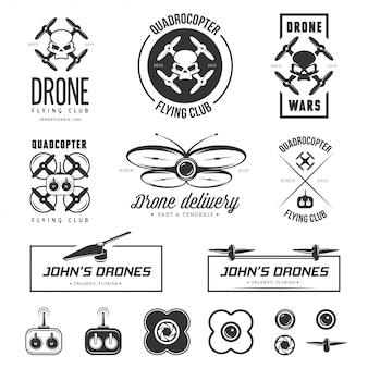 Set drone vliegende club labels, badges, elementen.