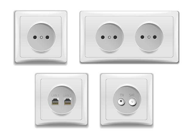 Set dubbele en enkele stopcontacten