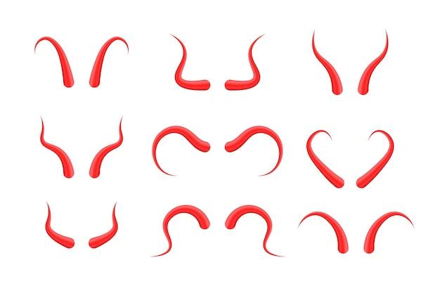 Set duivel hoorns geïsoleerd op wit