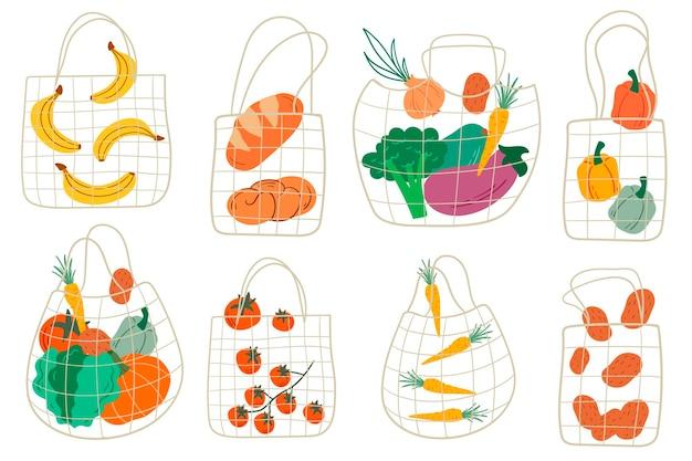 Set eco boodschappennet tassen met diverse producten. fruit en groenten. cartoon-stijl. plat ontwerp