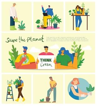 Set eco-veilige omgeving-afbeeldingen. mensen die voor planeetcollage zorgen. geen afval, denk groen, red de planeet, onze huishandgeschreven tekst in het moderne platte ontwerp