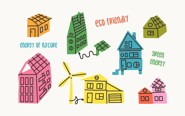 Set ecologische huizen energie die wordt opgewekt door zonnepanelen en windturbines eco-gebouwen