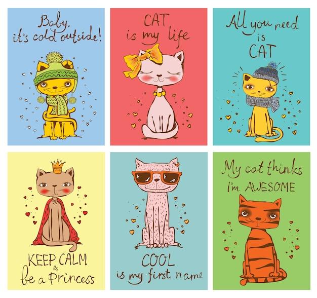 Set ector-kaarten met schattige katten en handgetekende grappige kattenteksten.