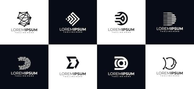Set eerste letter d monogram logo ontwerpsjablonen