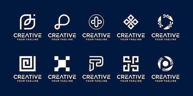 Set eerste letter p logo sjabloon