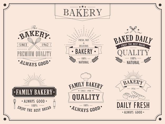 Set elegante bakkerij vintage emblemen collecties