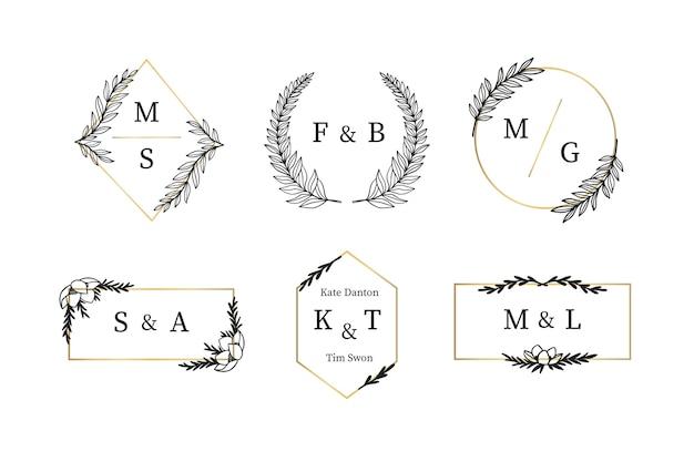 Set elegante bruiloft monogrammen