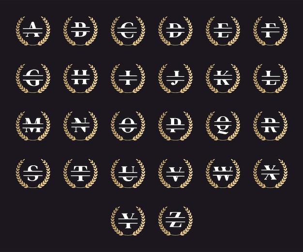 Set elegante gepersonaliseerde monogrambrieven in een lauwerkrans
