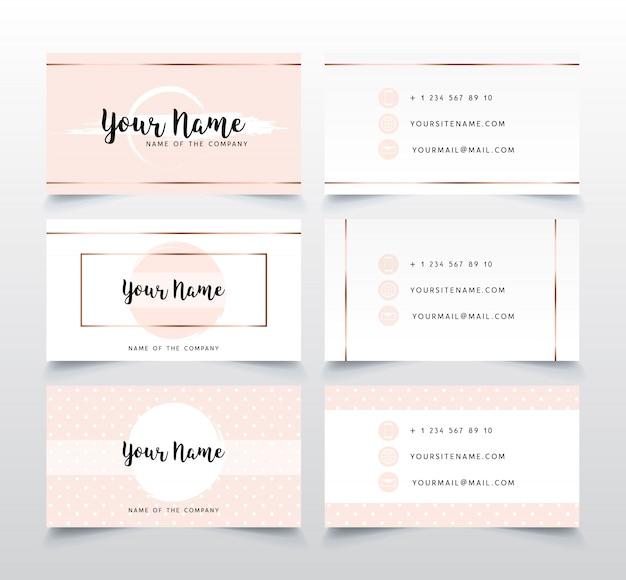 Set elegante roze visitekaartjesjabloon.