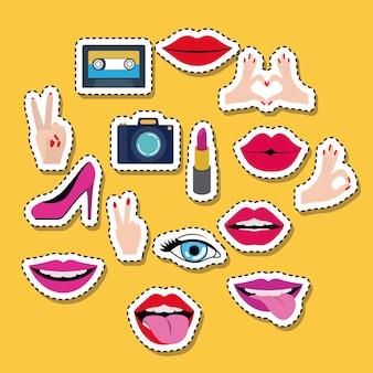 Set elementen klassieke sticker ingesteld op kleur achtergrond