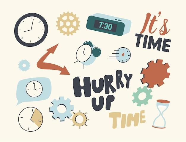 Set elementen klok en tijd illustratie