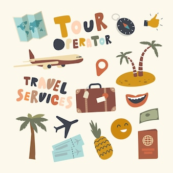 Set elementen touroperator thema. bagage, koffer, vliegtuig en palmbomen