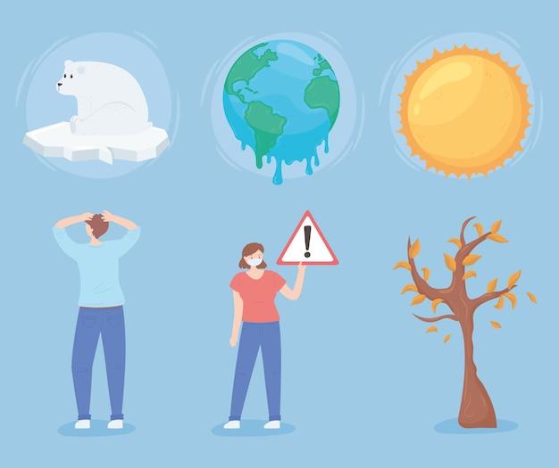 Set elementen van de opwarming van de aarde