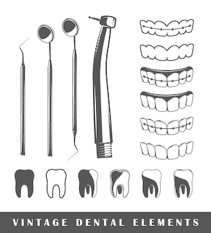 Set elementen van de tandarts