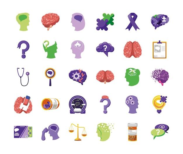 Set elementen van de ziekte van alzheimer