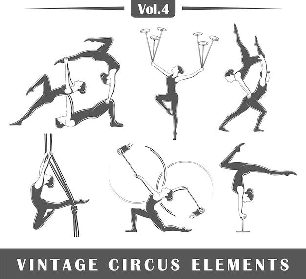 Set elementen van het circus geïsoleerd op een witte achtergrond. symbolen voor logo's en emblemen van circusontwerp.
