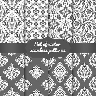 Set elementen van het damast naadloze patroon