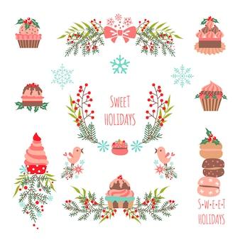 Set elementen van kerstmis en nieuwjaar
