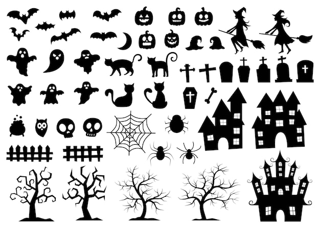 Set elementen voor halloween silhouetten pictogram en tekens geïsoleerd op een witte achtergrond