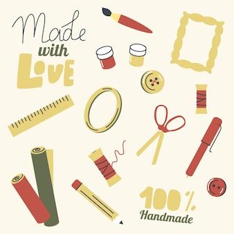 Set elementen voor handgemaakte hobby
