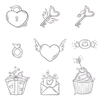 Set elementen voor st. valentijnsdag in doodle stijl.