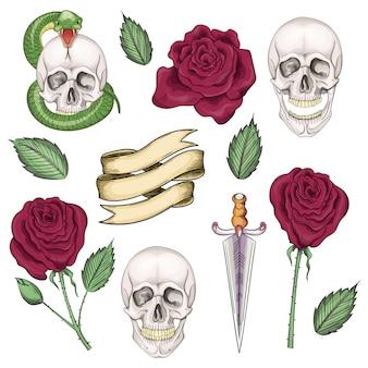 Set elementen voor tatoeages, prints in de stijl van de oude school