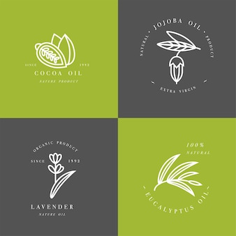 Set emblemen - cacao, lavendel, jojoba