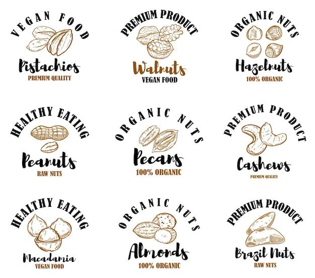 Set emblemen met rauwe noten. pistachenoten, walnoten, hazelnoten, pinda's, pecannoten, cashewnoten, amandelen.