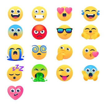 Set emoticon cartoon emoji, gemengde emoji set