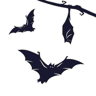 Set enge vreselijke vleermuizen voor halloween-vakantieontwerp. oktoberfeest spandoek, poster of ansichtkaart